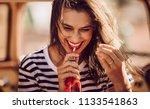 closeup of beautiful young... | Shutterstock . vector #1133541863