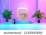 isolated gold icon with plants... | Shutterstock . vector #1133542850