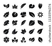 leaf glyph vector icons   | Shutterstock .eps vector #1133596376