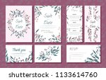 wedding card templates set with ... | Shutterstock .eps vector #1133614760