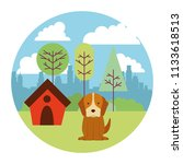 dog puppy mascot with pet house ... | Shutterstock .eps vector #1133618513