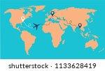 color vector travel map... | Shutterstock .eps vector #1133628419
