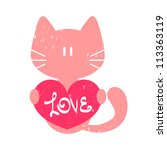 kitty holding a heart valentine ... | Shutterstock .eps vector #113363119