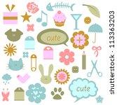 a set of cute babyish elements   Shutterstock .eps vector #113363203