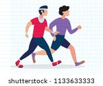 two running men. cartoon... | Shutterstock .eps vector #1133633333