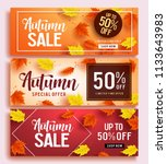 autumn sale vector banner set... | Shutterstock .eps vector #1133643983