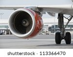 Jet engine, Prague Airport, Czech Republic - stock photo