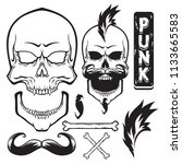 punk rock set  skull  bones ... | Shutterstock .eps vector #1133665583