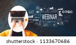 webinar with person using a... | Shutterstock . vector #1133670686
