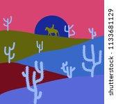 landscape on blue  pink and...
