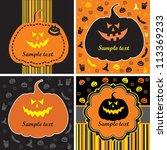 set of halloween cards with... | Shutterstock . vector #113369233