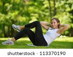healthy young woman stretching... | Shutterstock . vector #113370190