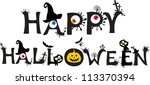 happy halloween text isolated... | Shutterstock . vector #113370394