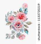 handmade watercolor bouquet of... | Shutterstock .eps vector #1133720219
