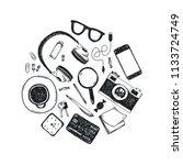 vector set of hand drawn office ... | Shutterstock .eps vector #1133724749