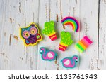 Stock photo various erasers in the form of owls cacti flamingos and rainbows 1133761943