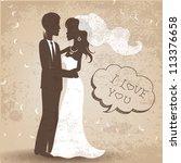 retro style wedding card | Shutterstock .eps vector #113376658