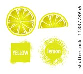 lemon set  slices and text ... | Shutterstock .eps vector #1133778956