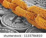 concept of blockchain. gold... | Shutterstock . vector #1133786810