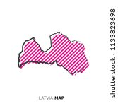 latvia vector country map. map... | Shutterstock .eps vector #1133823698