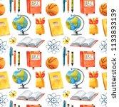 seamless watercolor school... | Shutterstock . vector #1133833139