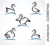 swan set. collection label and... | Shutterstock .eps vector #1133887466