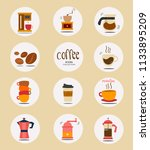 flat vector coffee stuff icon... | Shutterstock .eps vector #1133895209