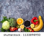 foods rich in vitamin c.... | Shutterstock . vector #1133898950