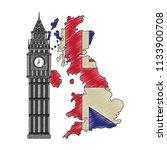 map great britain with big ben... | Shutterstock .eps vector #1133900708