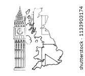 map great britain with big ben... | Shutterstock .eps vector #1133903174