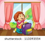 illustration of a girl with bag ... | Shutterstock . vector #113393554