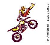 Motocross Racer Stunt. Vector...