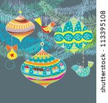 Christmas background with cute decorations and birds, vector - stock vector