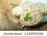 healthy crispbread on desk | Shutterstock . vector #1133955236