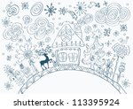 Christmas hand drawn doodle background with place for text, cute illustration - stock photo