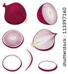 red onion  entire  halved and... | Shutterstock .eps vector #113397160