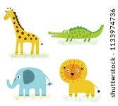 african animals  vector cartoon ... | Shutterstock .eps vector #1133974736