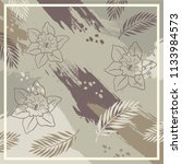 abstract floral silk scarf... | Shutterstock .eps vector #1133984573