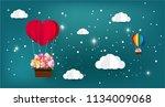 beautiful heart and rainbow... | Shutterstock .eps vector #1134009068