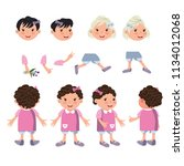 little girls character set with ... | Shutterstock .eps vector #1134012068