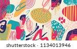 creative doodle art header with ... | Shutterstock .eps vector #1134013946