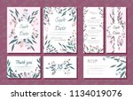 wedding card templates set with ... | Shutterstock .eps vector #1134019076