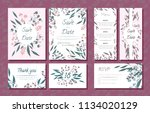 wedding card templates set with ... | Shutterstock .eps vector #1134020129