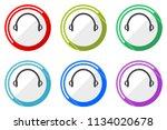 headphones web vector icons ... | Shutterstock .eps vector #1134020678
