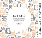 vector tea and coffee linear... | Shutterstock .eps vector #1134020870
