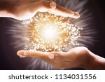 close up of mysterious glowing... | Shutterstock . vector #1134031556