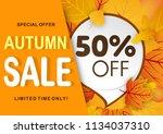 autumn sale banner design with... | Shutterstock .eps vector #1134037310