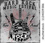 hard rock music poster | Shutterstock . vector #1134039386