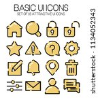 semi flat line icon set with...
