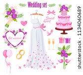 beautiful wedding set. bride's... | Shutterstock .eps vector #1134060689
